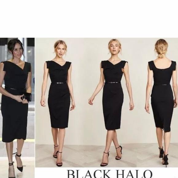 258e0086 Black Halo Dresses | Belted Classic Jackie O Midi Dress | Poshmark